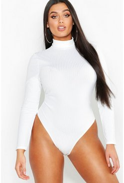 Ivory white Plus Rib Neon Roll Neck Bodysuit