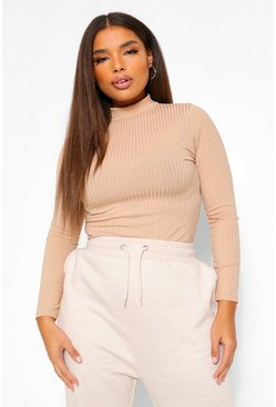 Stone beige Plus Rib Neon Roll Neck Bodysuit