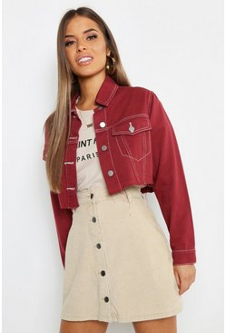 Rust Petite Contrast Stitch Crop Jacket