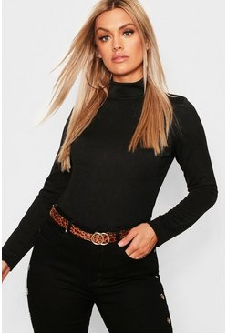 Black Plus Crepe Roll Neck Top