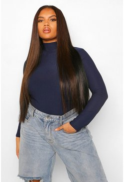Navy Plus Crepe Roll Neck Top