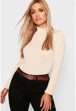 Stone beige Plus Crepe Turtleneck Top