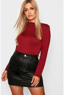 Berry red Plus Jersey Roll Neck Long Sleeve Top
