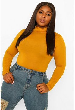 Mustard yellow Plus Jersey Roll Neck Long Sleeve Top