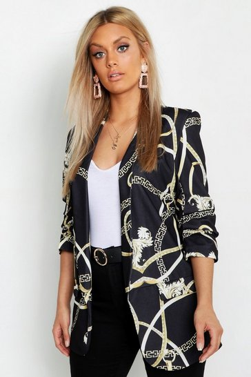 Black Plus Chain Print Ruched Sleeve Blazer