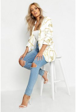 White Plus Chain Print Ruched Sleeve Blazer
