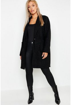 Black Plus Faux Teddy Duster Jacket