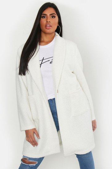 Ivory white Plus Faux Teddy Duster Jacket