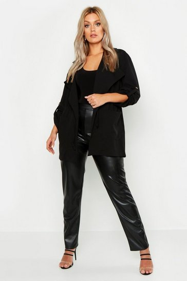 Black Plus Waterfall Ruched Utility Jacket