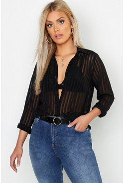 Black Plus Burn Out Stripe Shirt