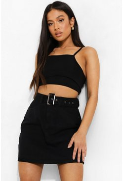 Black Petite Belted Denim Mini Skirt