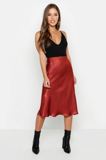 Rust orange Petite Satin Midi Skirt