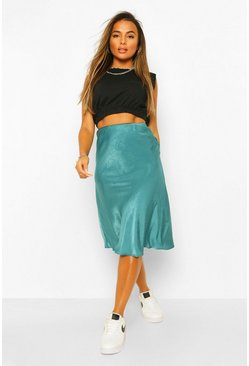 Teal green Petite Satin Midi Skirt