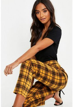 Mustard yellow Petite Checked Tartan Trousers