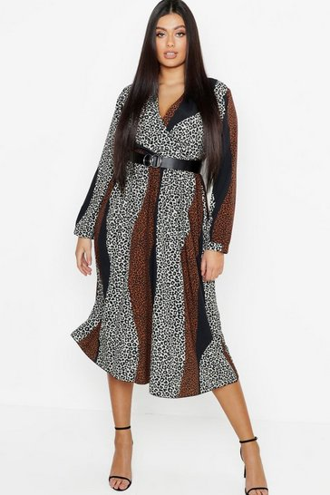 Tan brown Plus Mix Leopard Print Wrap Midi Dress