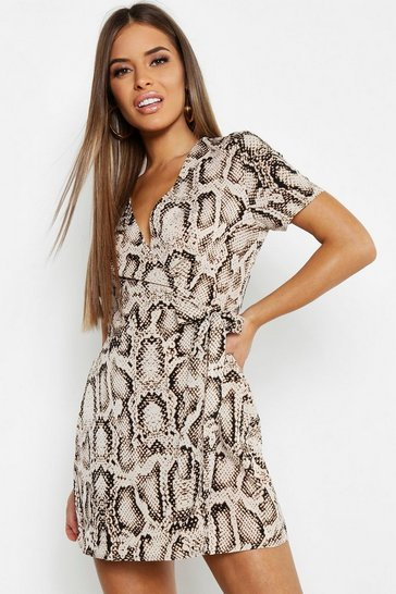 Stone beige Petite Animal Print Woven Wrap Dress