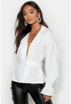 Ivory white Petite Button Front Plunge Blouse