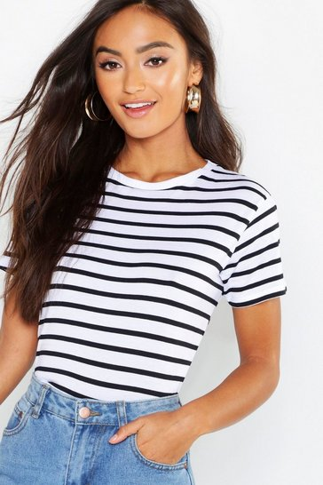 White Petite Striped Boxy Fit T-Shirt