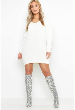 Cream white Plus V Neck Jumper Mini Dress