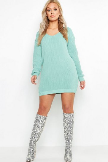 Sage green Plus V Neck Jumper Mini Dress