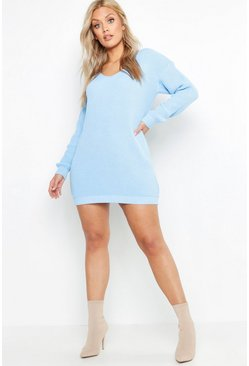 Sky blue Plus V Neck Jumper Mini Dress