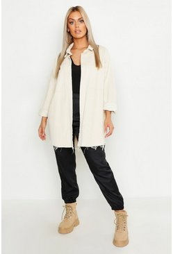 Ecru white Plus Raw Edge Oversized Cord Shirt