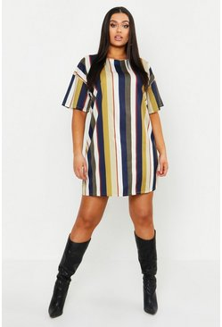 Mustard yellow Plus Tonal Stripe Short Sleeved Shirt Dress