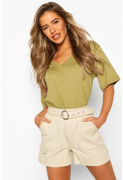 Khaki Petite Oversized V-Neck T-Shirt