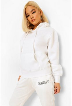 White Petite Solid Oversized Hoody