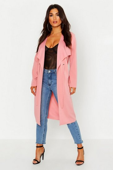 Blush pink Petite Eyelet Raw Edge Duster