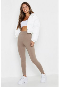 Mocha beige Petite High Waisted Basic Jersey Leggings