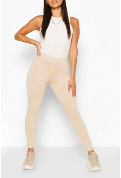 Stone Petite High Waisted Basic Jersey Leggings