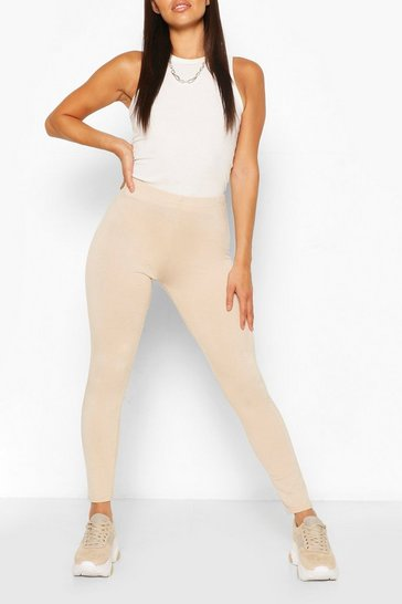 Stone beige Petite High Waisted Basic Jersey Leggings