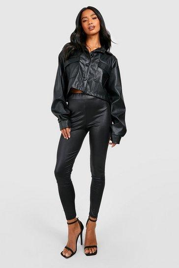 Black Petite High Waist Basic Wet Look Leggings