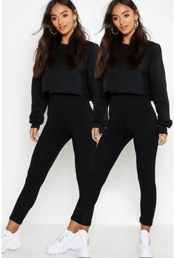 Black Petite Two Pack High Waist Legging