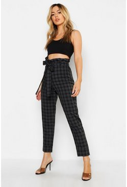 Black Petite Paper Bag Waist Check Tapered Pants