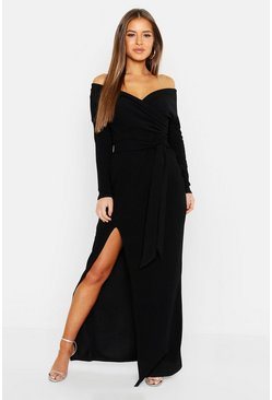 Zwart black Petite Off the Shoulder Maxi-jurk