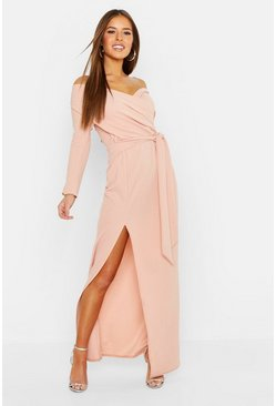 Blush pink Petite Off the Shoulder Maxi-jurk