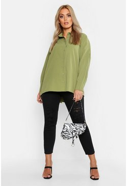 Khaki Plus Oversized Woven Utility Shirt