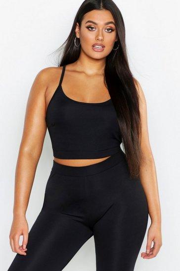 Black Plus Fit Scoop Neck Crop Top