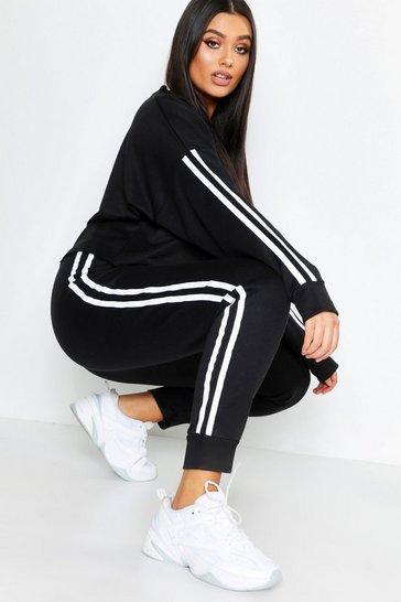 Black Plus Side Stripe Sweat And Jogger Set