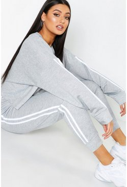 Grey Plus Side Stripe Sweat and Jogger Set