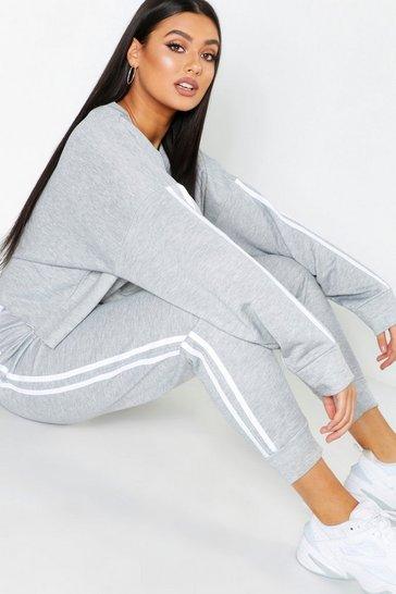 Grey Plus Side Stripe Sweat And Jogger Set