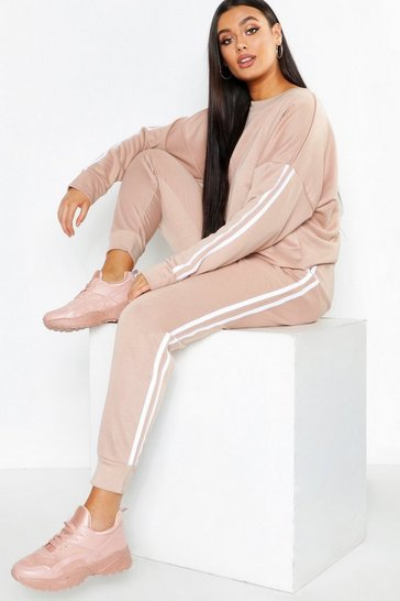 Stone beige Beige Plus Side Stripe Sweat And Jogger Set