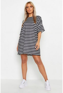 Ivory Plus Stripe Oversized T-Shirt Dress