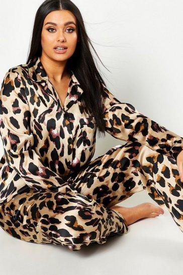 Plus Leopard Print Satin PJ Set