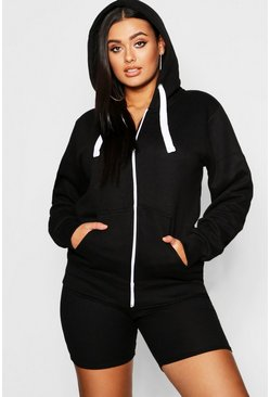 Black Plus Zip Through Hooded Sweat