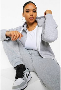 Grey Plus Zip Through Hooded Sweat