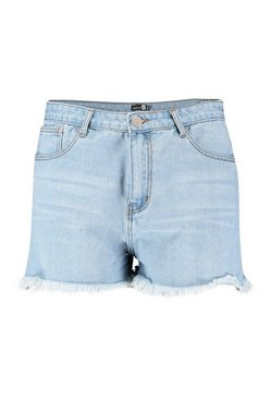 Light blue Plus Panel Detail Raw Edge Short
