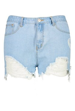 Light blue Plus Extreme Rip Denim Short